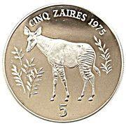 5 zaïres (WWF) – revers