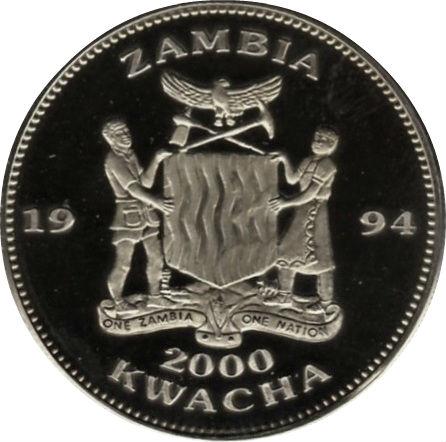 2000 kwacha coupe du monde de football usa 1994 zambie numista - Coupe du monde football 1994 ...