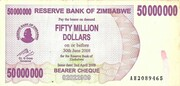 50 million dollars (Bearer cheque) – avers