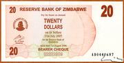 20 Dollars (Bearer Cheque) – avers