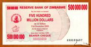 500 000 000 Dollars (Bearer Cheque) – avers