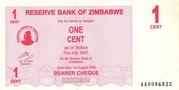 1 Cent (Bearer Cheque) – avers