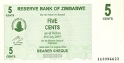 5 Cents (Bearer Cheque) – avers