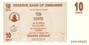 10 Cents (Bearer Cheque) – avers