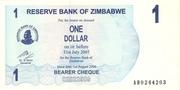 1 Dollar (Bearer Cheque) – avers