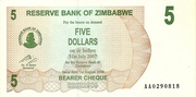 5 Dollars (Bearer Cheque) – avers