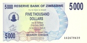 5 000 Dollars (Bearer Cheque) – avers