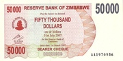 50 000 Dollars (Bearer Cheque) – avers