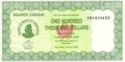 100 000 Dollars (Emergency Bearer Cheque) -  avers