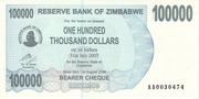 100 000 Dollars (Bearer Cheque) – avers