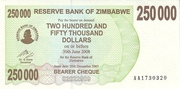 250 000 Dollars (Bearer Cheque) – avers