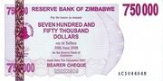 750 000 Dollars (Bearer Cheque) – avers
