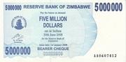 5 000 000 Dollars (Bearer Cheque) -  avers