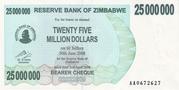 25 000 000 Dollars (Bearer Cheque) – avers