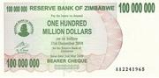 100 000 000 Dollars (Bearer Cheque) – avers