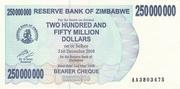 250 000 000 Dollars (Bearer Cheque) – avers