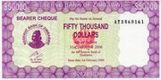 50 000 Dollars (Emergency Bearer Cheque) – avers