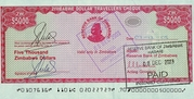 5,000 Dollars - Travellers Cheque – avers