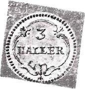 3 Haller (Klippe) – revers