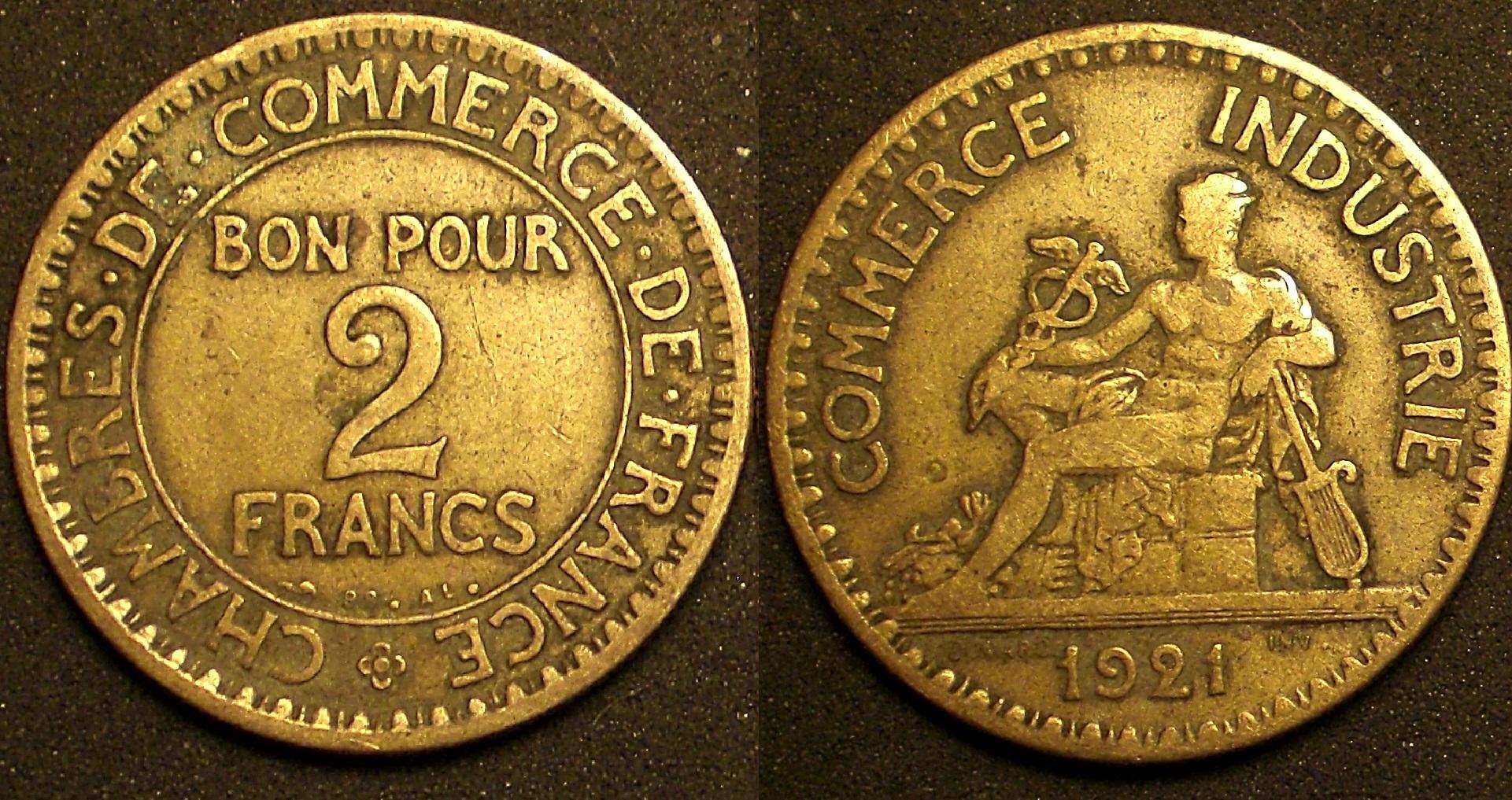 Bon pour 2 francs chambre du commerce 1921 2 ferm for Chambre de commerce de france bon pour 2 francs