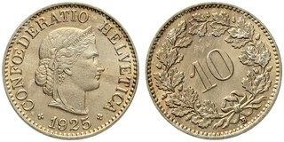 Photo 1 d'une vente de 10 centimes Tête de Libertas (cupronickel)